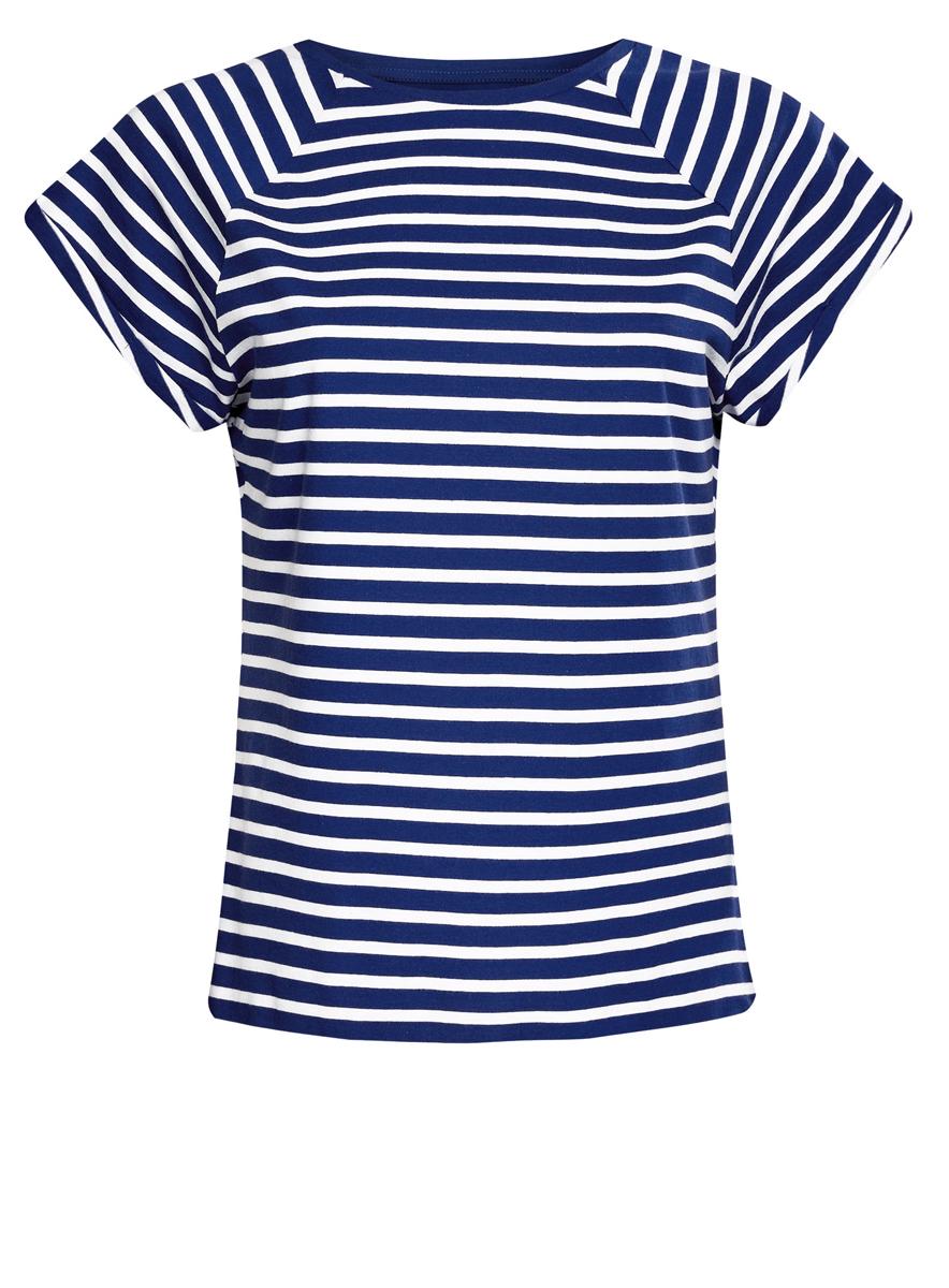Футболка14707001-4B/46154/2379SЖенская футболка выполнена из хлопка и оформлена принтом в полоску. Модель с круглым вырезом горловины и короткими рукавами реглан, дополненными отворотом.