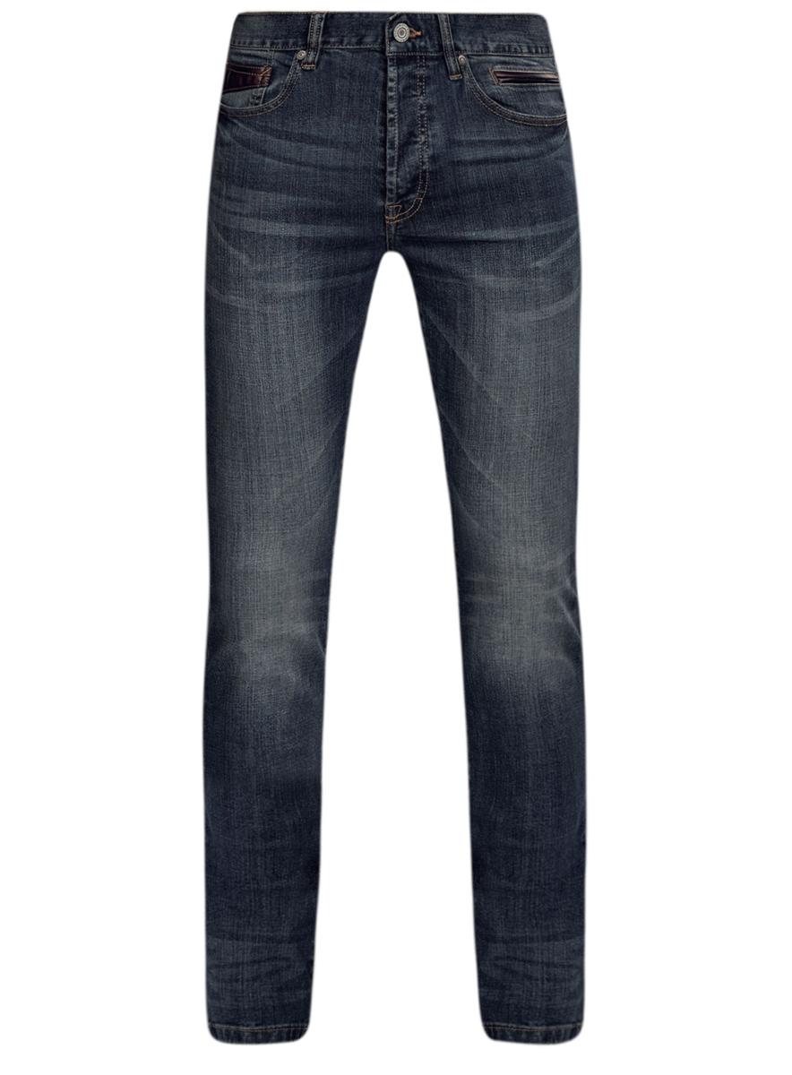 6L120121M/46141/7500WМужские джинсы oodji выполнены из высококачественного эластичного хлопка. Джинсы-слим стандартной посадки застегиваются на пуговицу в поясе и ширинку на пуговицах, дополнены шлевками для ремня. Джинсы имеют классический пятикарманный крой: спереди модель дополнена двумя втачными карманами и одним маленьким накладным кармашком, а сзади - двумя накладными карманами. Джинсы украшены декоративными потертостями и перманентными складками.