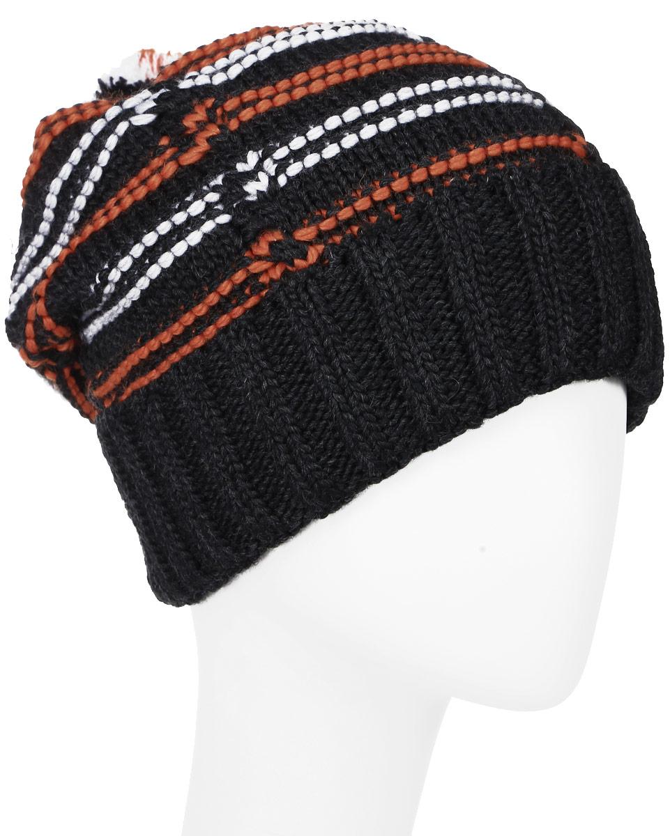 ШапкаMYH6916/1Теплая мужская шапка Marhatter отлично дополнит ваш образ в холодную погоду. Сочетание шерсти и акрила максимально сохраняет тепло и обеспечивает удобную посадку. Подкладка выполнена из мягкого флиса. Удлиненная шапка выполнена вязкой с узором и оформлена контрастным принтов в полоску. Модель дополнена толстым отворотом и на макушке пришит небольшой помпон. Уважаемые клиенты! Размер, доступный для заказа, является обхватом головы.