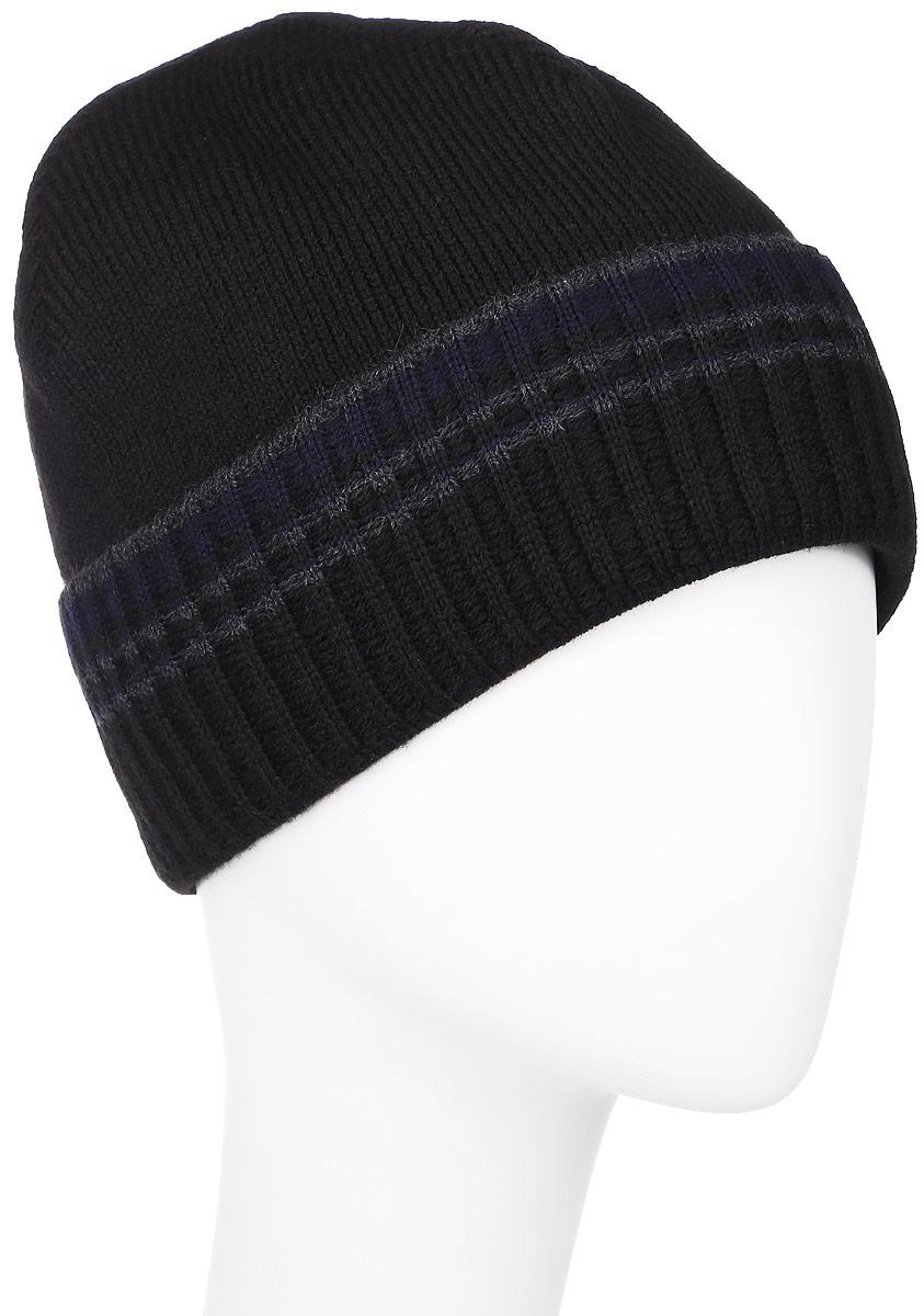 MMH5826/2Мужская шапка Marhatter выполнена из шерсти и акрила, подкладка - из полиэстера. Модель оформлена мелкой вязкой. По низу изделие дополнено подворотом, декорированным принтом в виде горизонтальных полосок контрастного цвета. Уважаемые клиенты! Размер, доступный для заказа, является обхватом головы.