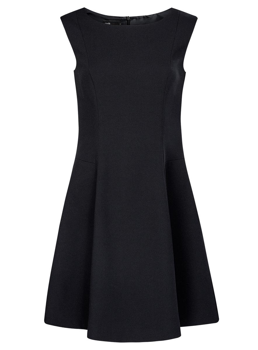 Платье11907004-2/31291/2900NПлатье oodji Ultra выполнено из качественного комбинированного материала, на подкладке из полиэстера. Модель-миди без рукавов имеет круглый вырез горловины. Платье застегивается на металлическую застежку-молнию на спинке. Модель выполнена в лаконичном дизайне.