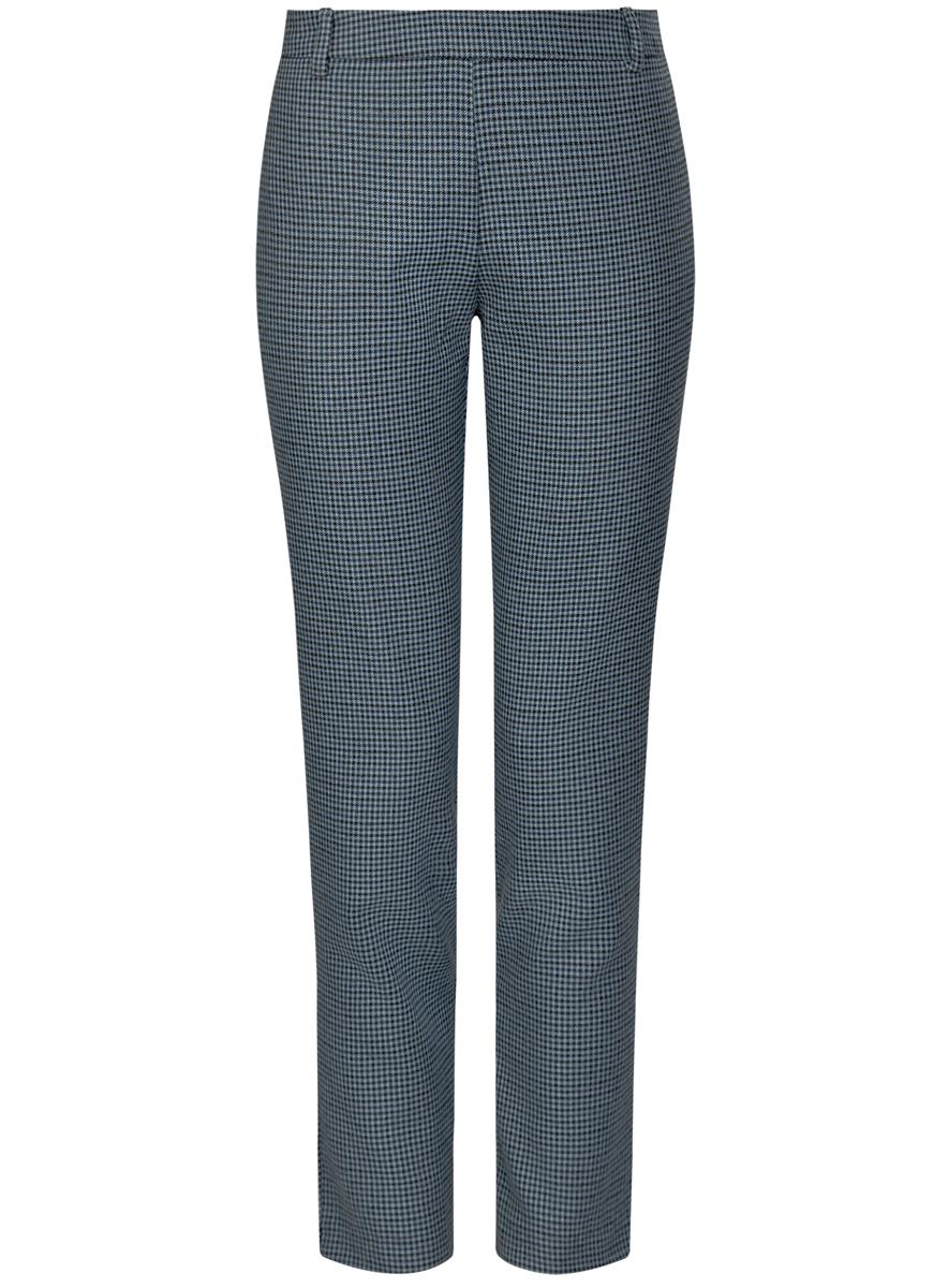 11700209-1/22124/7029CЖенские брюки oodji Ultra стандартной посадки изготовлены из полиэстера с добавлением вискозы. Сбоку брюки застегиваются на металлическую застежку молнию, на поясе дополнены шлевками для ремня. Сзади изделие дополнено имитацией прорезных кармашков.