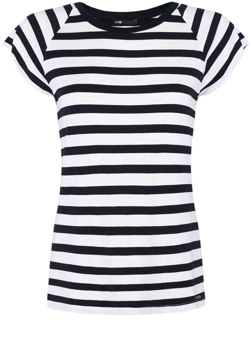 24707001-3/14675/1229SЖенская футболка выполнена из вискозы с добавлением полиуретана и оформлена принтом в полоску. Модель с круглым вырезом горловины и стандартными короткими рукавами.