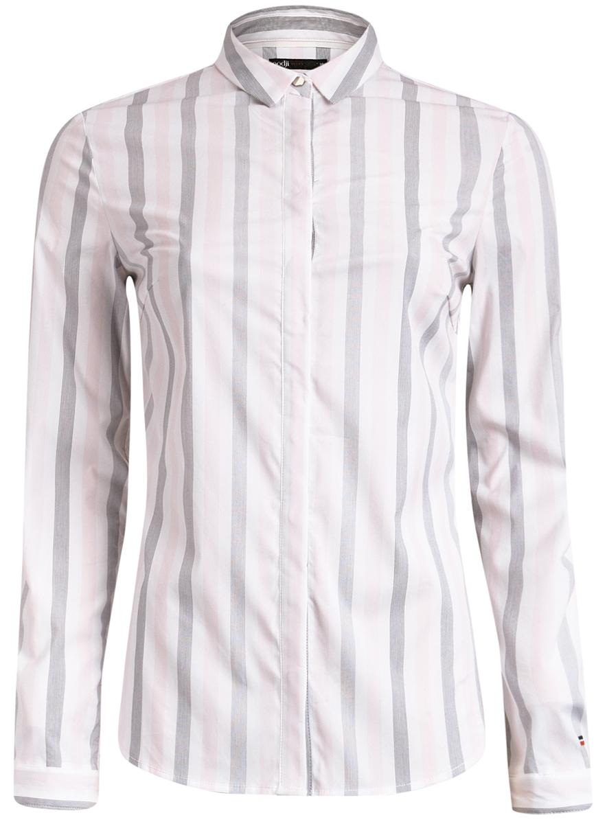 Блузка11401255/45668/2340SЖенская блузка oodji Ultra имеет длинный рукав, классический воротничок и скрытые пуговицы спереди. Декорирована металлической пуговицей под воротничком и на каждом из манжет. Модель плотно садится и прилегает по фигуре.