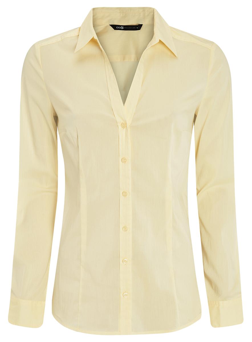 Блузка21402211/33431/5000NЖенская блузка oodji Collection исполнена из тонкой дышащей ткани. Имеет воротник с V-образным вырезом и длинный рукав. Модель плотно садится и прилегает по фигуре. Спереди и на манжетах застегивается на пуговицы.