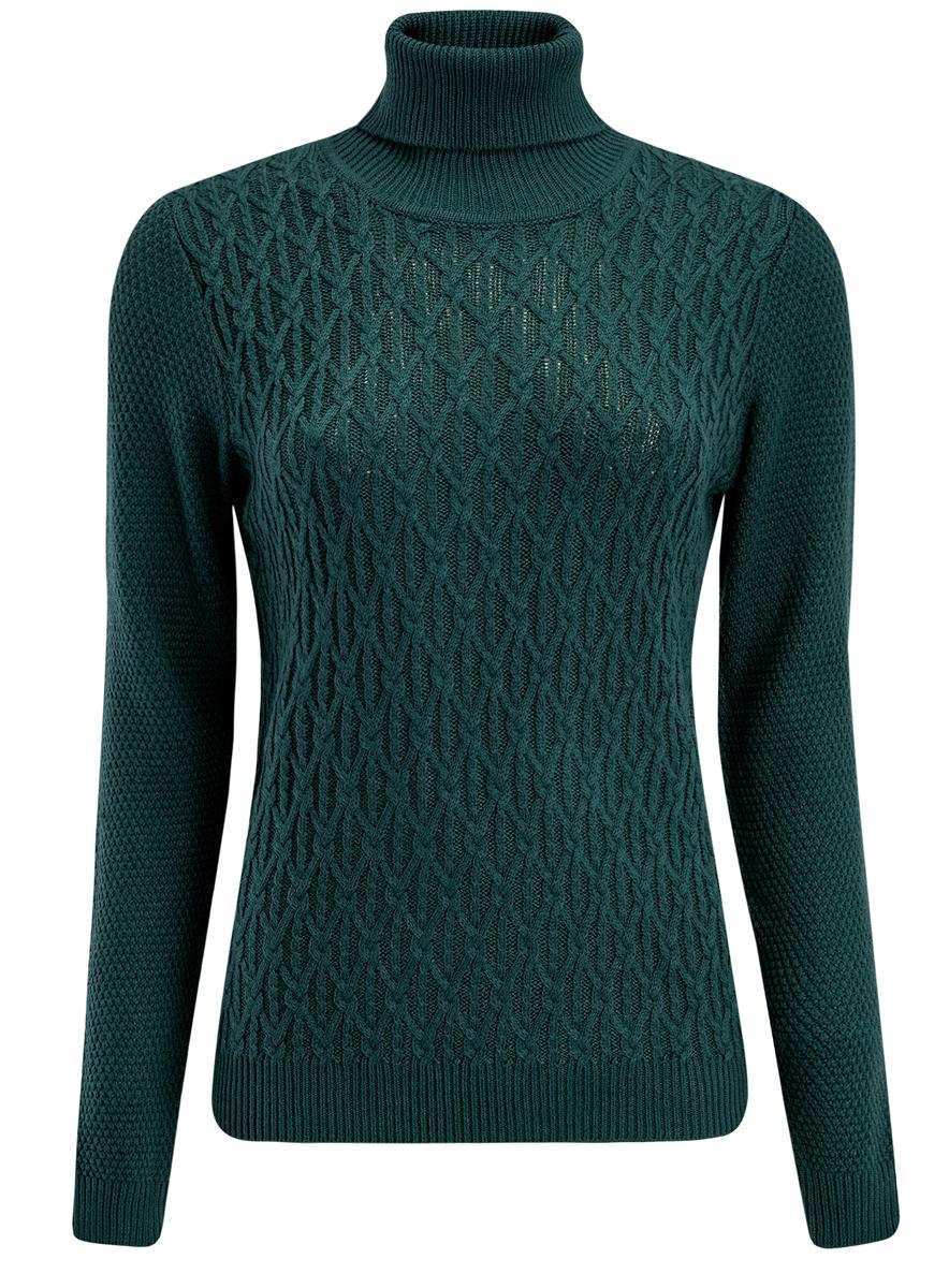 74407101/43385/6900NСтильный женский свитер выполнен из качественной комбинированной пряжи. Модель с воротником-гольф и длинными рукавами. Горловина, манжеты и низ изделия связаны резинкой.