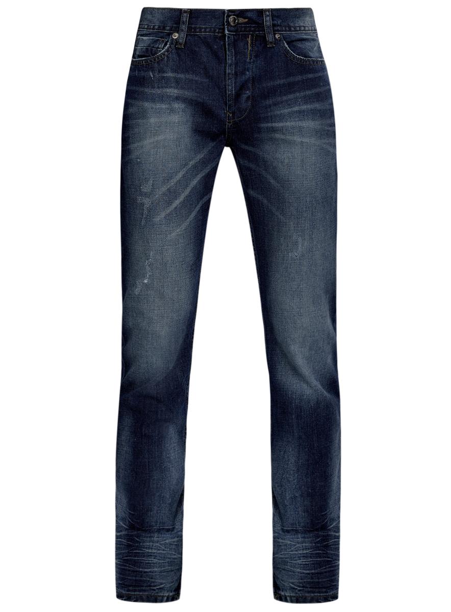 Джинсы6L130045M/35771/7500WМужские джинсы oodji выполнены из высококачественного натурального хлопка. Джинсы прямого кроя и стандартной посадки застегиваются на пуговицу в поясе и ширинку на пуговицах, дополнены шлевками для ремня. Джинсы имеют классический пятикарманный крой: спереди модель дополнена двумя втачными карманами и одним маленьким накладным кармашком, а сзади - двумя накладными карманами. Джинсы украшены декоративными потертостями и перманентными складками.