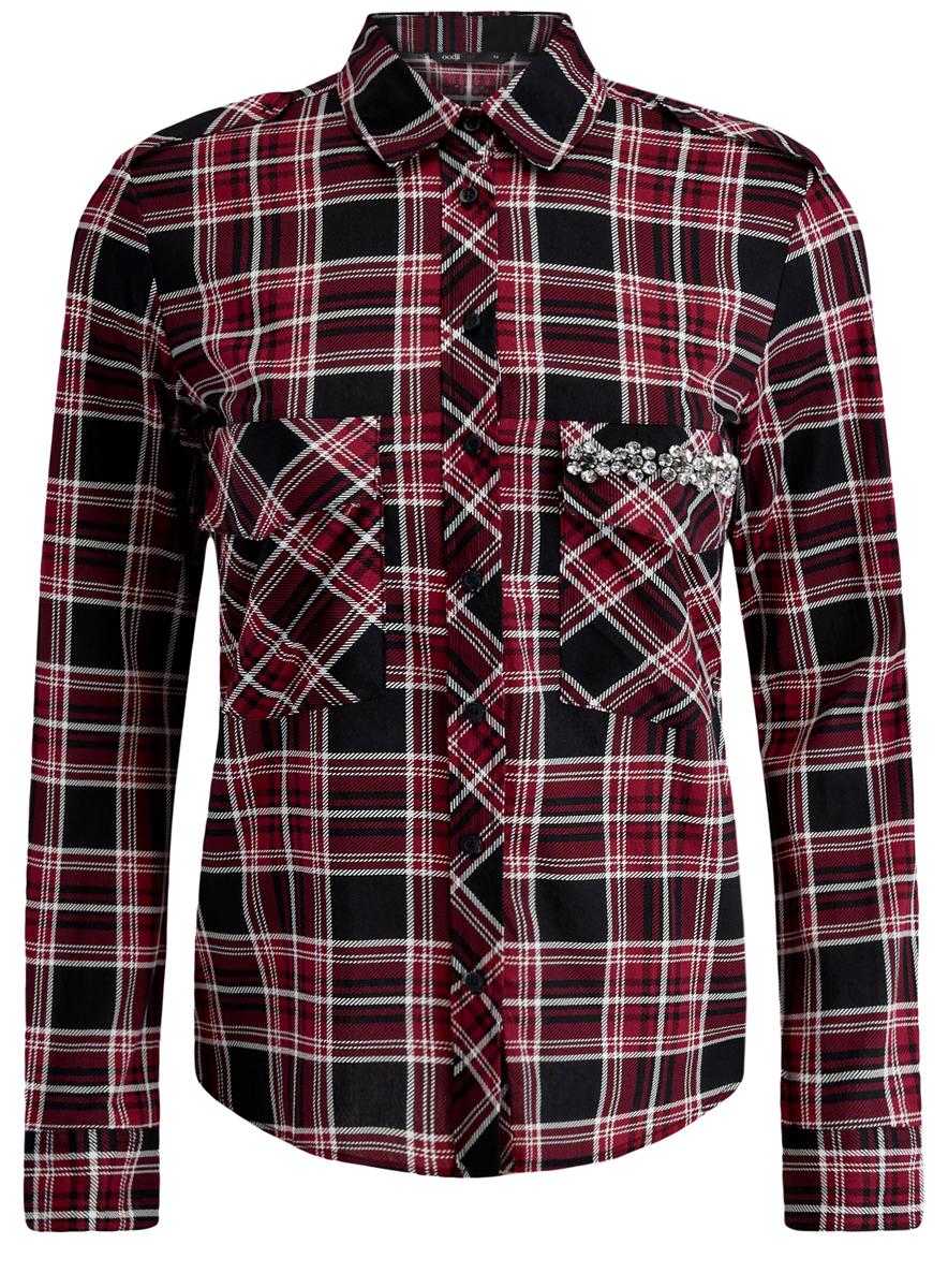 Рубашка11411052-3/45772/1229CСтильная женская рубашка oodji Ultra выполнена из натурального хлопка. Модель с отложным воротником и длинными рукавами застегивается на пуговицы. Манжеты рукавов оснащены застежками-пуговицами. Длина рукава регулируется при помощи хлястика с застежкой-пуговицей. Модель оформлена принтом в клетку и декорирована объемными стразами в виде цветочков. На груди расположены два накладных кармана с клапанами.