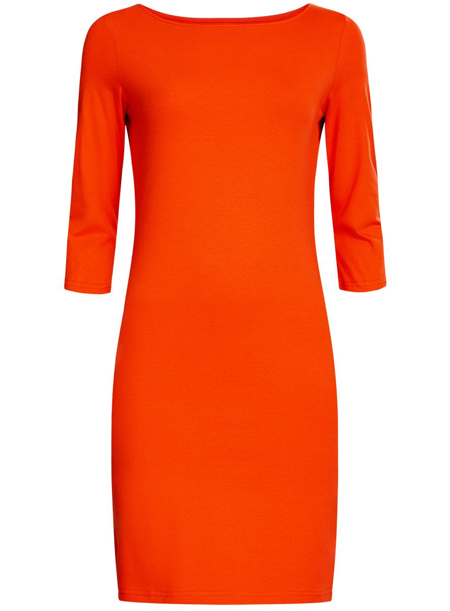 Платье14001071-2B/46148/3100NСтильное платье oodji выполненное из эластичного хлопка отлично дополнит ваш гардероб. Модель мини-длины с круглым вырезом горловины и рукавами 3/4.