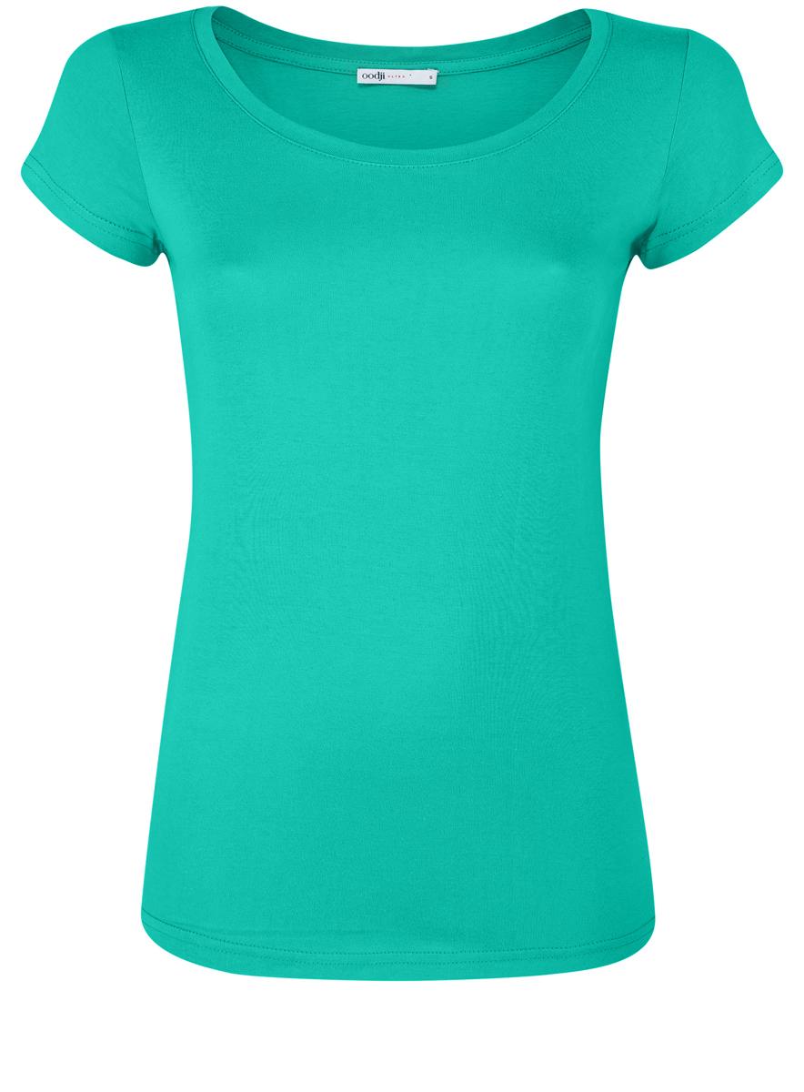 Футболка14701008B/46154/7001NМодная женская футболка oodji Ultra изготовлена из натурального хлопка. Модель с круглым вырезом горловины и короткими рукавами выполнена в лаконичном дизайне.