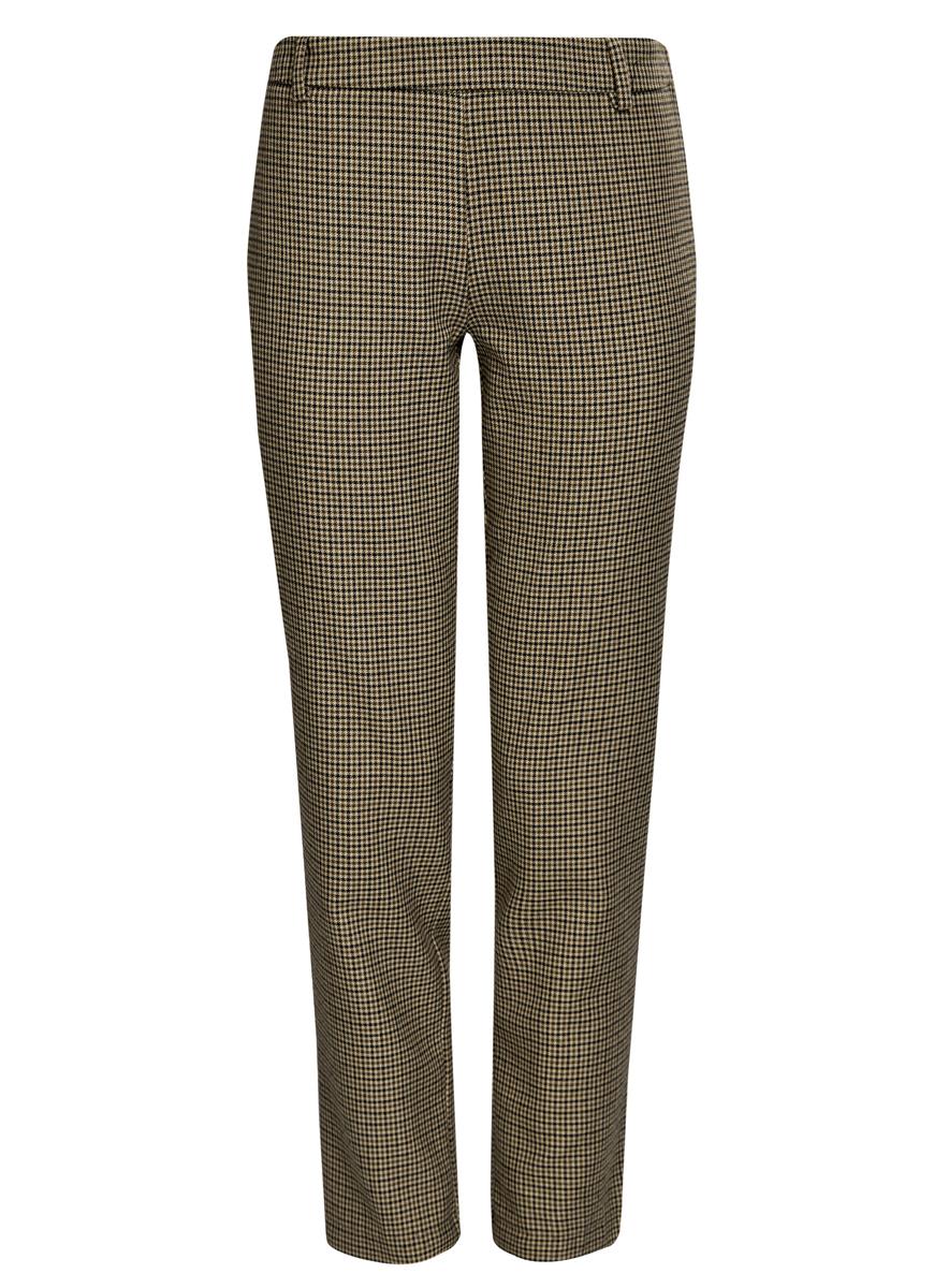 Брюки11700209-1/22124/7029CЖенские брюки oodji Ultra стандартной посадки изготовлены из полиэстера с добавлением вискозы. Сбоку брюки застегиваются на металлическую застежку молнию, на поясе дополнены шлевками для ремня. Сзади изделие дополнено имитацией прорезных кармашков.