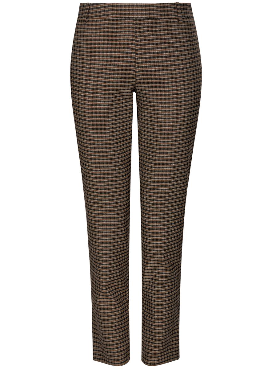 Брюки11700209-2/45839/2931CСтильные женские брюки oodji выполнены из полиэстера и вискозы. Модель со средней посадкой застегивается на молнию сбоку, имеются шлевки для ремня. Изделие сзади оформлено имитацией врезных карманов.