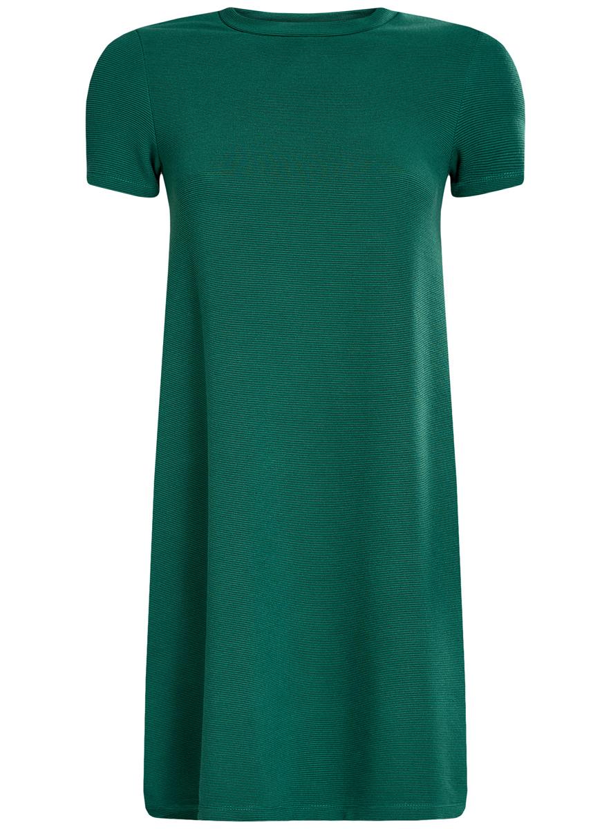 Платье14000157/45997/2900NЖенское трикотажное платье oodji Ultra имеет короткие рукава и круглый вырез воротника. Плотно садится по фигуре.