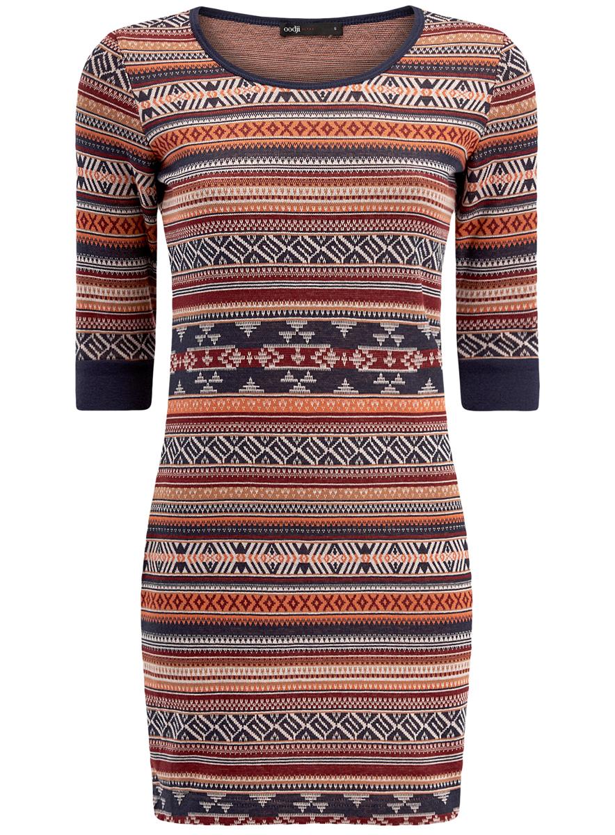 14001064-5/46025/3133JЖенское облегающее трикотажное платье oodji Ultra имеет круглый вырез, рукава 1/2 и оформлено принтом.