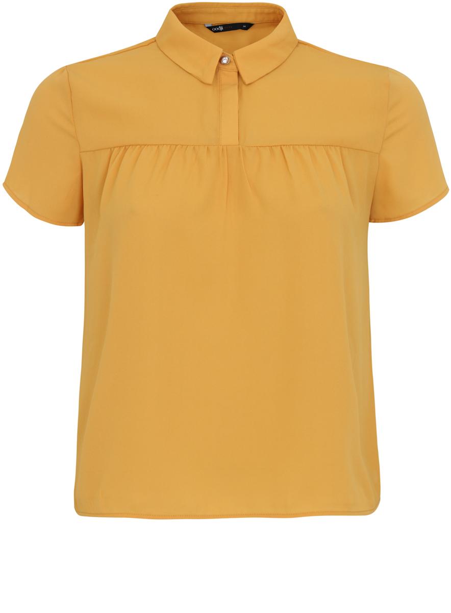 Блузка11400427/36215/2941FЖенская блузка oodji Ultra имеет свободный крой и короткий рукав, декорирована пуговицей со стразом под воротничком.