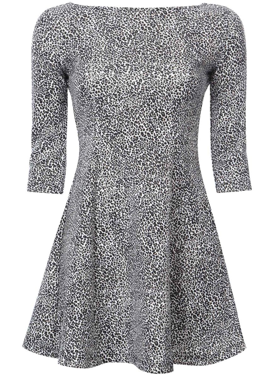 Платье14001150-3/33038/254BFСтильное платье oodji Ultra, выполненное из качественного полиэстера с небольшим добавлением эластана, отлично дополнит ваш гардероб. Модель-мини с круглым вырезом горловины и стандартными рукавами 3/4 оформлено оригинальным цветочным принтом.