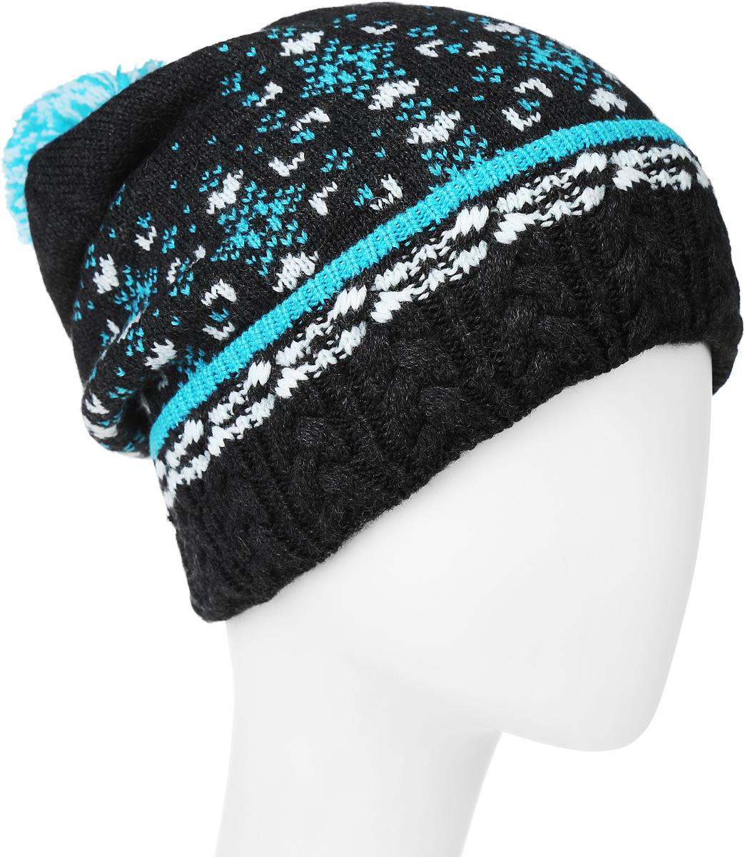 ШапкаMLH6922Теплая женская шапка Marhatter отлично дополнит ваш образ в холодную погоду. Сочетание шерсти и акрила максимально сохраняет тепло и обеспечивает удобную посадку, невероятную легкость и мягкость. Шапка с отворотом дополнена интересным принтом. Макушка модели дополнена помпоном. Уважаемые клиенты! Размер, доступный для заказа, является обхватом головы.