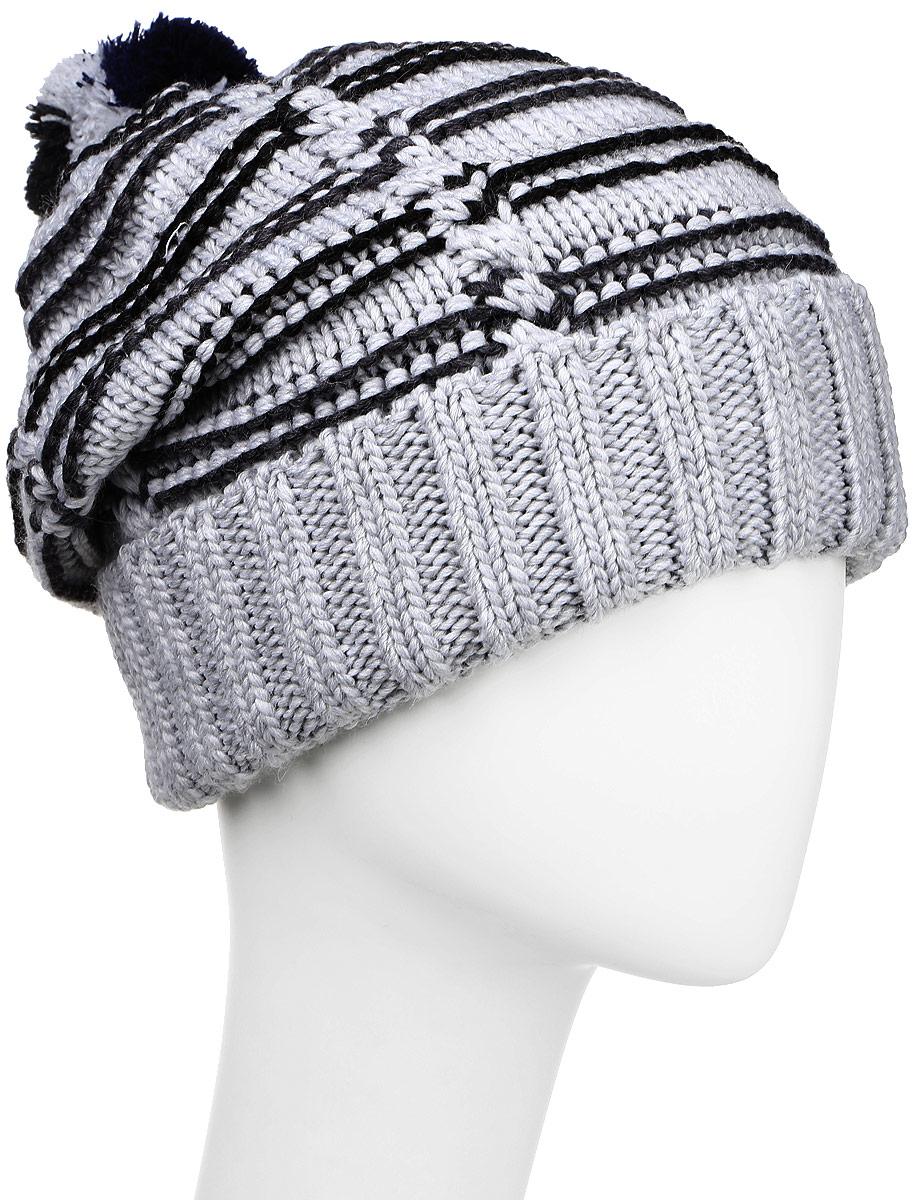 MYH6916/1Теплая мужская шапка Marhatter отлично дополнит ваш образ в холодную погоду. Сочетание шерсти и акрила максимально сохраняет тепло и обеспечивает удобную посадку. Подкладка выполнена из мягкого флиса. Удлиненная шапка выполнена вязкой с узором и оформлена контрастным принтов в полоску. Модель дополнена толстым отворотом и на макушке пришит небольшой помпон. Уважаемые клиенты! Размер, доступный для заказа, является обхватом головы.