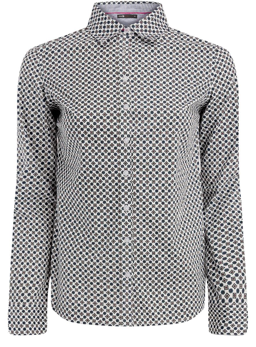 11403204-3/38544/1079GЖенская блузка oodji Ultra исполнена из хлопковой дышащей ткани. Оформлена классическим воротничком и имеет длинный рукав. Модель плотно садится и прилегает по фигуре. Подходит для любого образа.