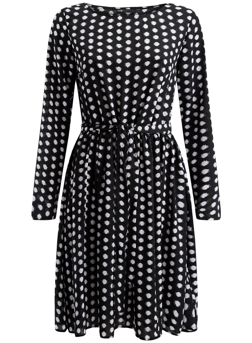 Платье21901157/38313/2910DПлатье oodji Coolection полностью выполнено из полиэстера. Модель с поясом, воротником-лодочкой и длинными рукавами оформлено принтом в горох.