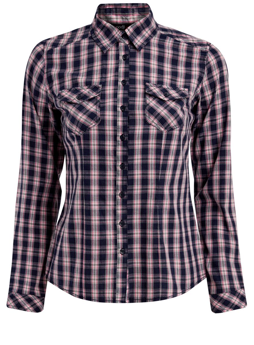 Рубашка11405122-3/42521/7941CРубашка oodji Ultra выполнена из качественного хлопка. Модель с отложным воротником и длинными рукавами застегивается по всей длине с помощью пуговиц. Рукава дополнены манжетами на пуговицах. Оформлена рубашка стильным принтом в клетку и дополнена спереди двумя накладными карманами с клапанами на кнопках.