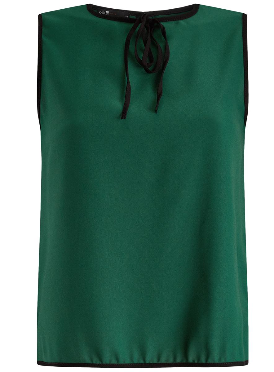 11411047/42405/1229BМодная женская блузка oodji Ultra изготовлена из высококачественного полиэстера. Модель с круглым вырезом горловины и без рукавов застегивается на пуговицу, расположенную на спинке. Проймы рукавов, вырез горловины и низ изделия оформлены контрастной бейкой. Нижняя часть изделия по боковым швам дополнена небольшими разрезами. Спереди вырез горловины украшен декоративным бантиком.