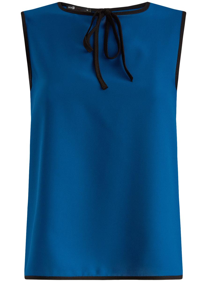 Блузка11411047/42405/1229BМодная женская блузка oodji Ultra изготовлена из высококачественного полиэстера. Модель с круглым вырезом горловины и без рукавов застегивается на пуговицу, расположенную на спинке. Проймы рукавов, вырез горловины и низ изделия оформлены контрастной бейкой. Нижняя часть изделия по боковым швам дополнена небольшими разрезами. Спереди вырез горловины украшен декоративным бантиком.