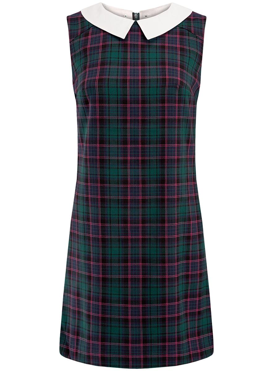 Платье11910080/37836/6E47CПлатье oodji Ultra без рукавов имеет прямой силуэт, молнию на спинке и отстежной белый воротничок.