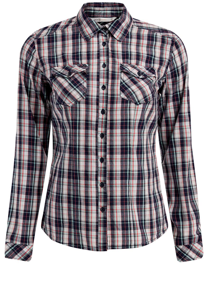 Рубашка11405122-1/33564/4579CРубашка oodji Ultra выполнена из качественного хлопка. Модель с отложным воротником и длинными рукавами застегивается по всей длине с помощью пуговиц. Рукава дополнены манжетами на пуговицах. Оформлена рубашка стильным принтом в клетку и дополнена спереди двумя накладными карманами с клапанами на кнопках.