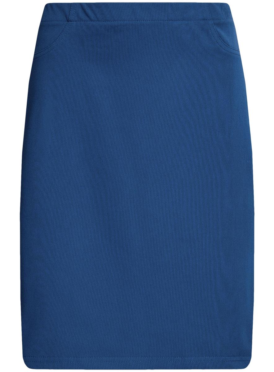Юбка24101039/33606/7500NЮбка oodji Collection выполнена из качественного комбинированного материала. Модель-карандаш не имеет застежки и дополнена в поясе широкой эластичной резинкой. Спереди юбка оформлена имитацией карманов.