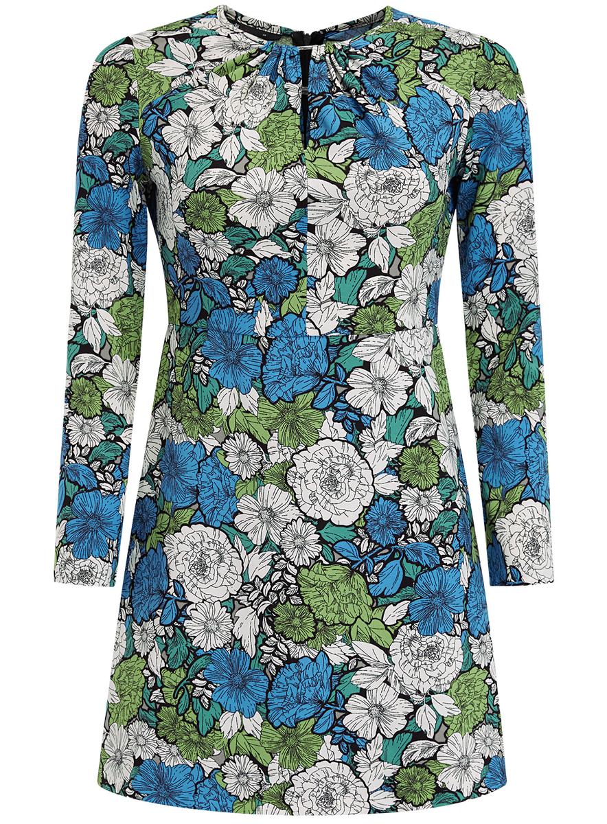 Платье11900220-1/45352/7562FСтильное платье oodji Ultra выполнено из 100% полиэстера. Модель с круглым вырезом горловины и рукавами 3/4 сзади застегивается на застежку-молнию. Оформлено изделие цветочным принтом.