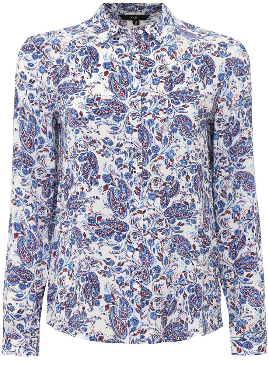 Блузка11411098-1/24681/124DFЖенская стильная блузка oodji Ultra выполнена из 100% вискозы в цветочном принте. Модель с длинными рукавами и отложным воротником застегивается на пуговицы по всей длине, манжеты рукавов также дополнены застежками-пуговицами.
