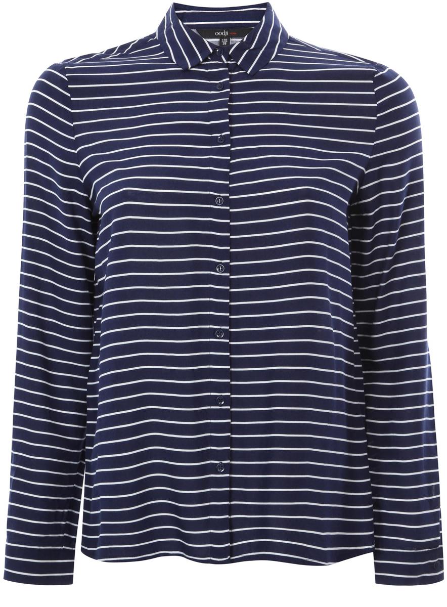 Рубашка11411098-2/24681/7912SРубашка oodji Ultra выполнена из качественной вискозы. Модель с отложным воротником и длинными рукавами застегивается по всей длине с помощью пуговиц. Рукава дополнены манжетами с пуговицами. Оформлена рубашка стильным принтом в полоску.
