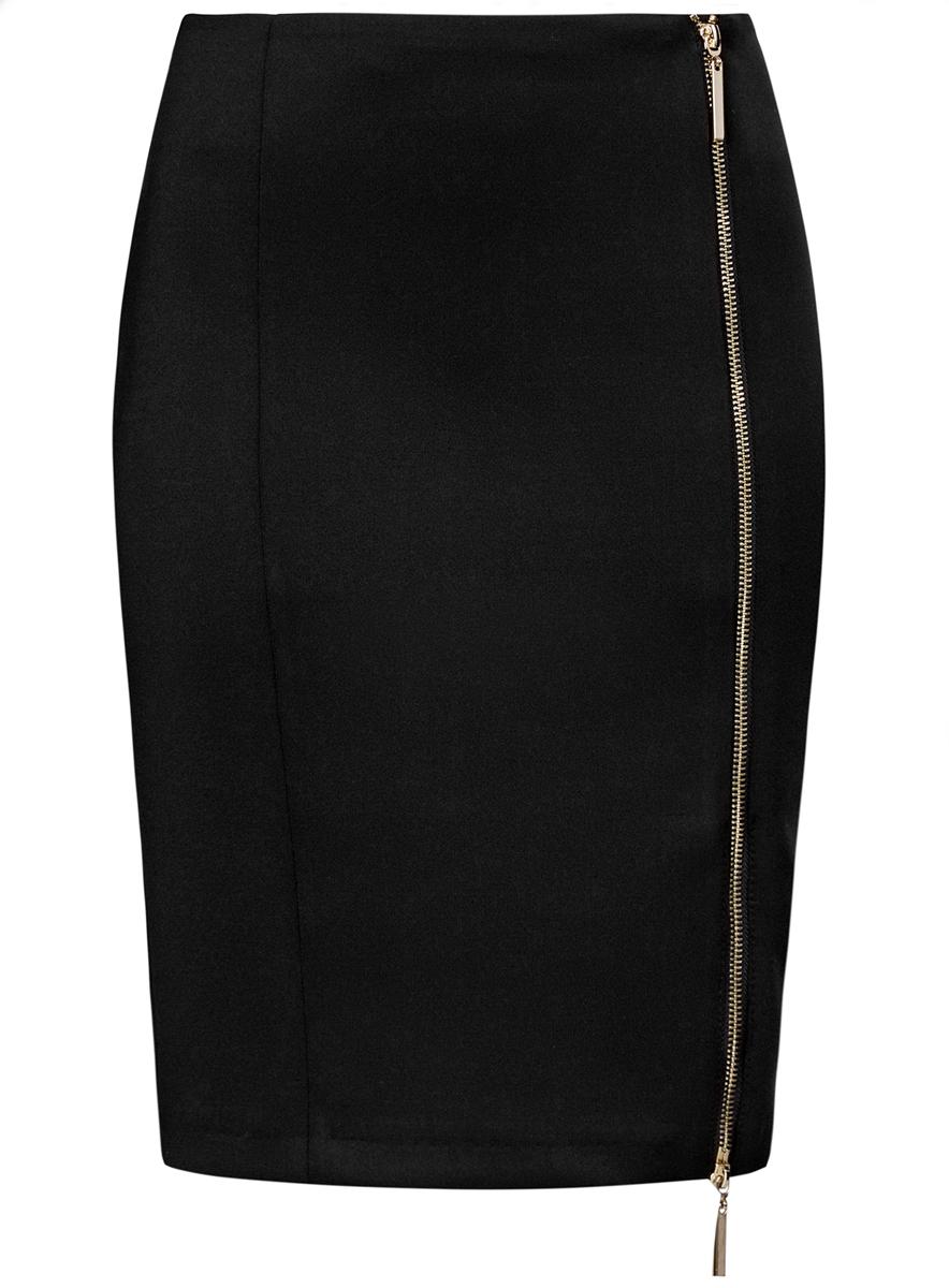 Юбка14101080/33038/7900NЮбка oodji Ultra выполнена из высококачественного полиэстера с добавлением эластана. В качестве материала подкладки используется полиэстер. Модель-карандаш застегивается спереди по всей длине на металлическую молнию. Выполнена юбка в лаконичном дизайне.