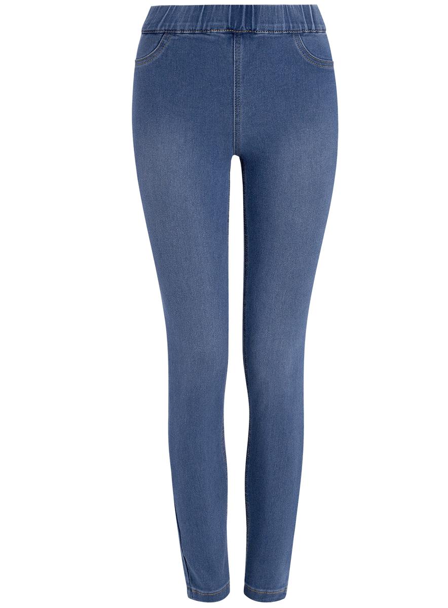 Джинсы12104043-5B/45468/7000WЖенские облегающие джинсы oodji Denim изготовлены из эластичного хлопка с добавлением полиэстера и вискозы. Джинсы-скинни имеют широкую эластичную резинку на поясе. Сзади расположены два накладных кармана. Изделие оформлено имитацией ширинки и втачных карманов спереди.