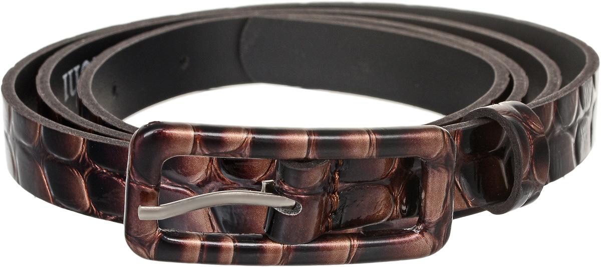 Ремень2212В13-45-3-2/15Элегантный тонкий ремень Vittorio Richi выполнен из высококачественной лаковой экокожи с тиснением под рептилию. Металлическая пряжка, оформленная накладкой из экокожи, позволит легко и быстро зафиксировать ремень и отрегулировать его длину. Уважаемые клиенты! Обращаем ваше внимание на тот факт, что размер ремня, доступный для заказа, является его длиной.
