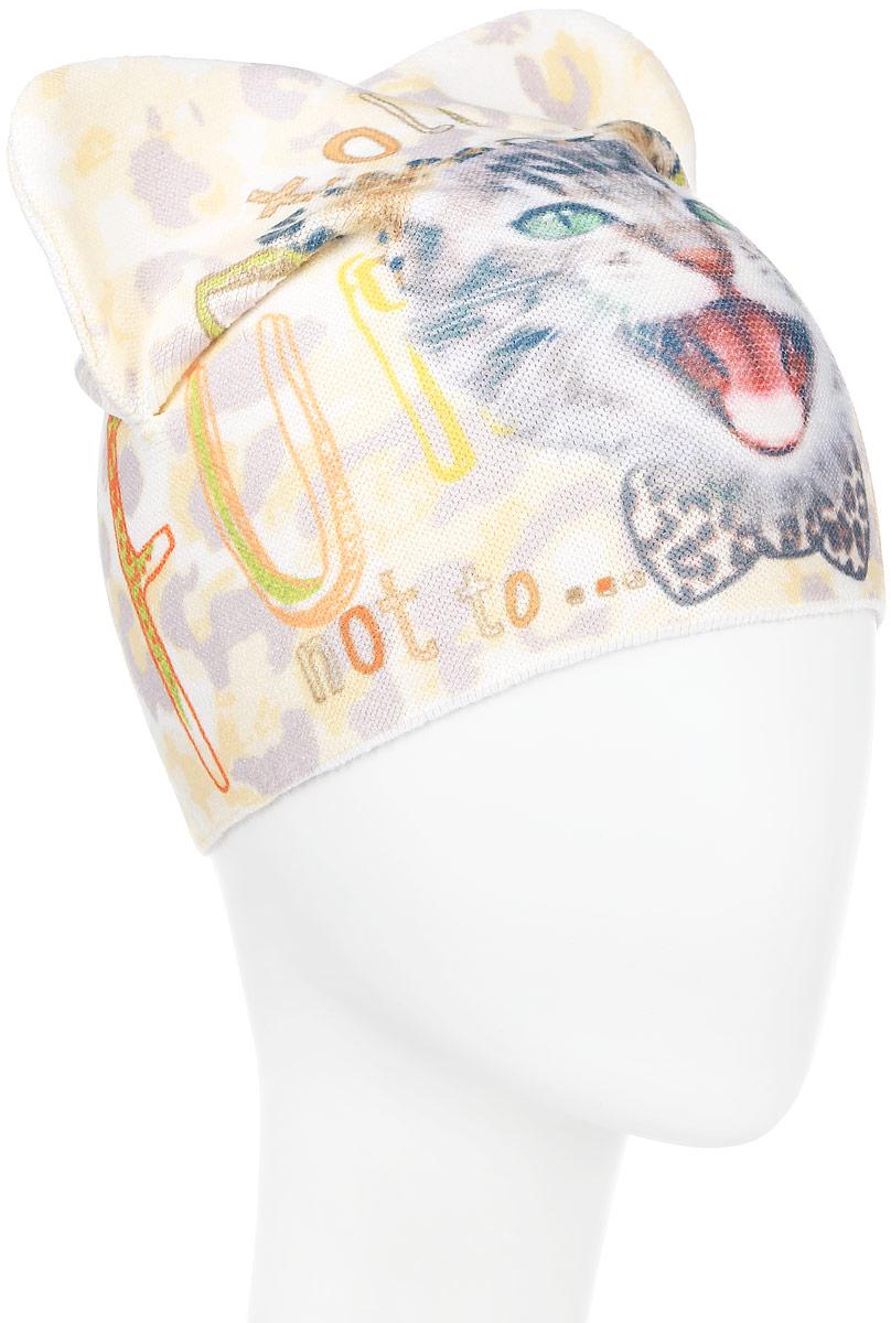 Шапка детскаяD3742-22Стильная шапка для девочки ПриКиндер идеально подойдет для прогулок и активных игр на свежем воздухе. Шапка выполнена из высококачественного эластичного акрила с добавлением хлопка, она невероятно мягкая и приятная на ощупь, великолепно тянется и удобно сидит. Такая шапочка отлично дополнит любой наряд. Модель украшена крупным принтом с изображением кошачьей мордашки и надписями на английском языке, а также дополнена декоративными складками. Удобная шапка станет модным и стильным дополнением гардероба вашей маленькой принцессы, надежно защитит ее от холода и ветра и поднимет ей настроение даже в пасмурные дни! Уважаемые клиенты! Размер, доступный для заказа, является обхватом головы.