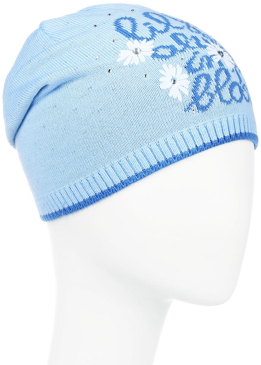 D3639-22Теплая шапка для девочки ПриКиндер выполнена из высококачественного акрила с добавлением хлопка. Шапка оформлена контрастным цветочным принтом с надписями и выкладкой из блестящих страз. В макушке модель удлинена и отогнута назад, а по низу шапка оформлена резинкой. Уважаемые клиенты! Размер, доступный для заказа, является обхватом головы.