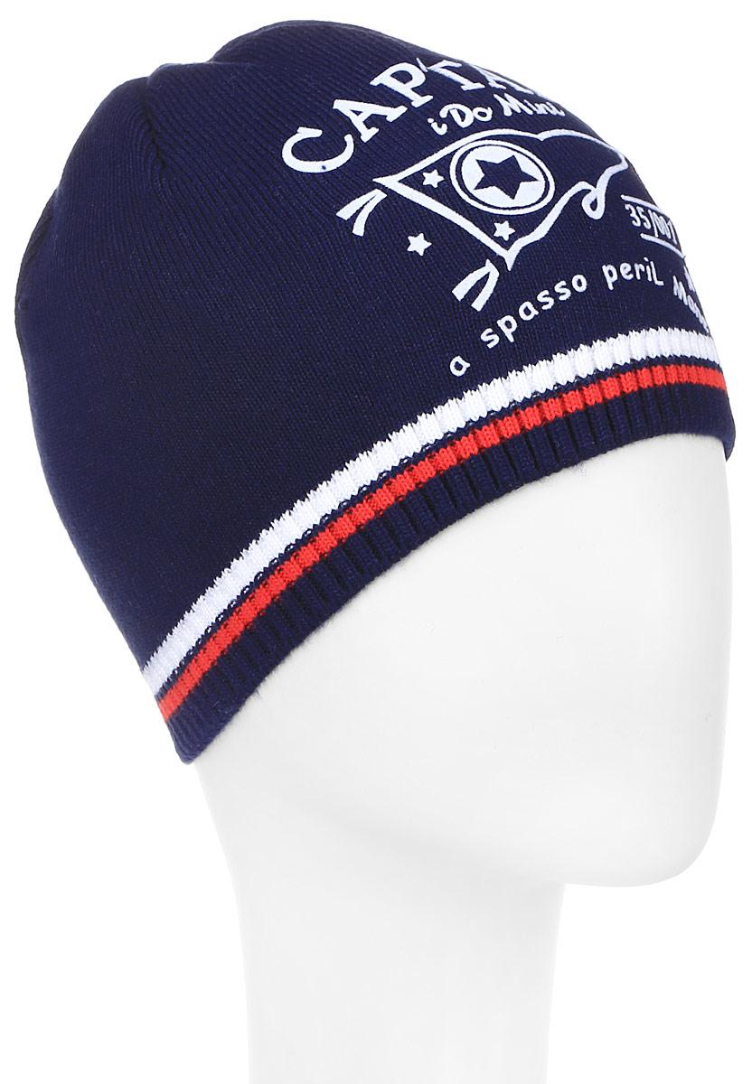 Шапка детскаяM3601-22Теплая шапка для мальчика ПриКиндер выполнена из сочетания высококачественного хлопка с акрилом. Шапка по краю выполнена трикотажной резинкой и оформлена контрастным принтом с надписями. Уважаемые клиенты! Размер, доступный для заказа, является обхватом головы.