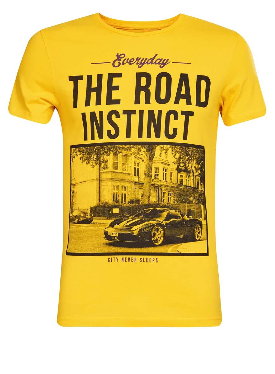 5B621002I/44135N/51BHPМужская футболка oodji Basic изготовлена из высококачественного натурального хлопка. Модель с короткими рукавами и круглым вырезом горловины украшена принтом с изображением автомобиля и надписью Everyday. The Road Instinct. City Never Sleeps.