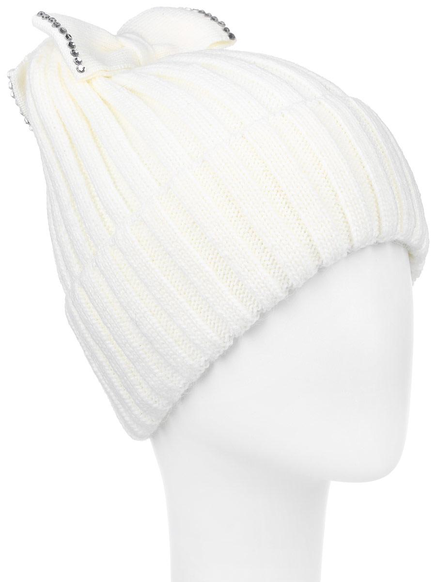 2Банта-22Теплая шапка для девочки Concept выполнена из сочетания высококачественного акрила и теплой шерсти. Шапка с отворотом оформлена на макушке двумя вязанными бантами. Банты дополнены выкладкой из блестящих страз. Уважаемые клиенты! Размер, доступный для заказа, является обхватом головы.