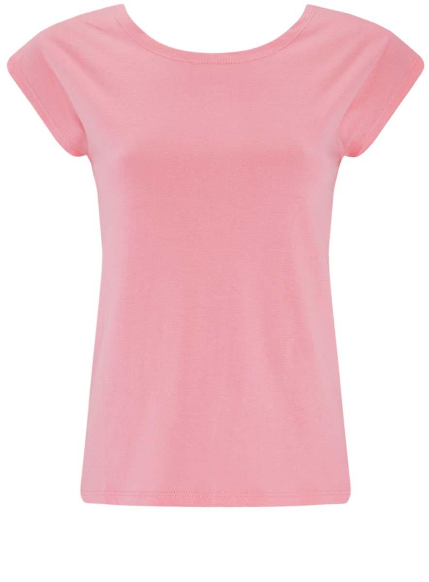 14702001/46158/7500NМодная женская футболка oodji Ultra изготовлена из натурального хлопка. Модель с круглым вырезом горловины и короткими цельнокроеными рукавами выполнена в лаконичном дизайне.