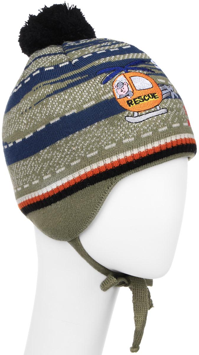 Шапка детскаяM2645-22Детская шапка ПриКиндер выполнена из шерсти и акрила, подкладка - из шерсти и лайкры. У модели удлиненные ушки со шнурками-завязками. Изделие оформлено вышитой аппликацией и надписями, также дополнено помпоном. Уважаемые клиенты! Размер, доступный для заказа, является обхватом головы.