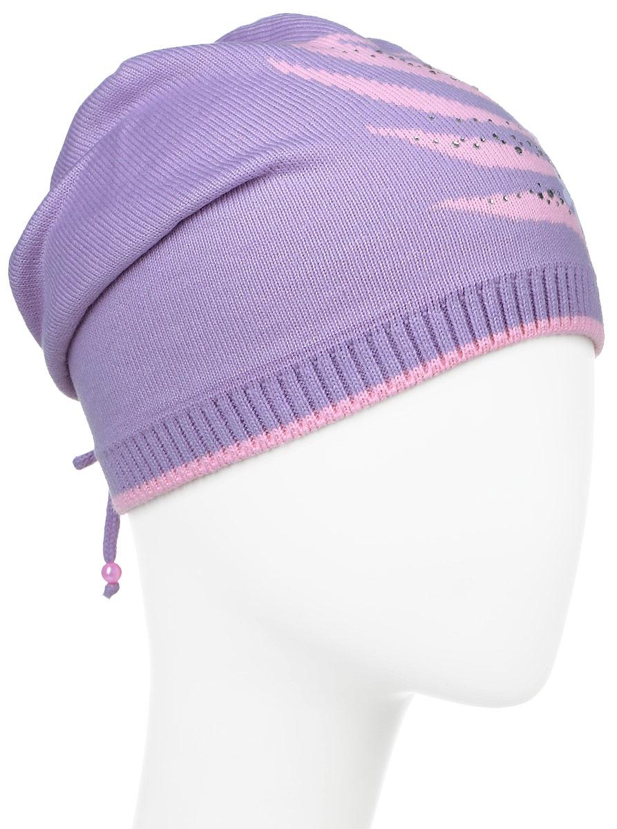 D3358-22_сиреневыйТеплая шапка для девочки ПриКиндер выполнена из высококачественного акрила с добавлением хлопка. Шапка оформлена контрастным цветочным принтом с выкладкой из страз. По низу модель выполнена трикотажной резинкой, а удлиненная макушка подогнута на затылок и прикреплена шнурочком. Уважаемые клиенты! Размер, доступный для заказа, является обхватом головы.