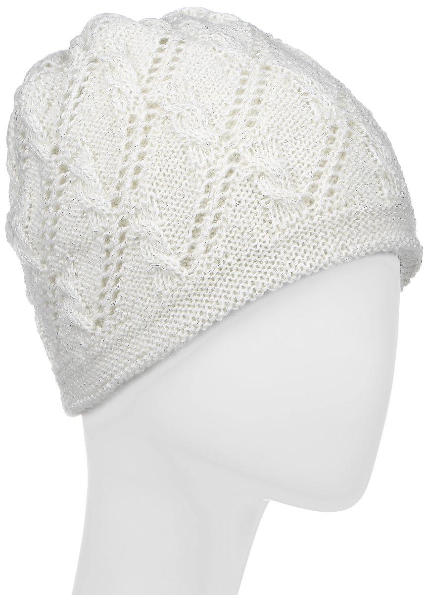 ШапкаSWH5944/3Женская шапка Snezhna выполнена из мохера и акрила. Модель оформлена ажурной вязкой с люрексом. По низу изделие дополнено вязаной резинкой. Уважаемые клиенты! Размер, доступный для заказа, является обхватом головы.