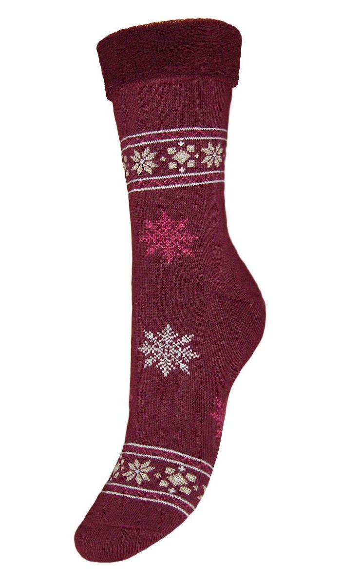 SC29MМахровые женские носки Гранд изготовлены из высококачественного хлопка с добавлением полиамидных и эластановых волокон, они обладают антибактериальными и теплоизолирующими свойствами, хорошо впитывают влагу, не садятся и не деформируются. Изделие оформлено интересным принтом в виде узоров и снежинок. Мягкая резинка с компрессионным эффектом идеально облегает ногу. Мысок и пятка усилены. В комплект входят две пары носков.