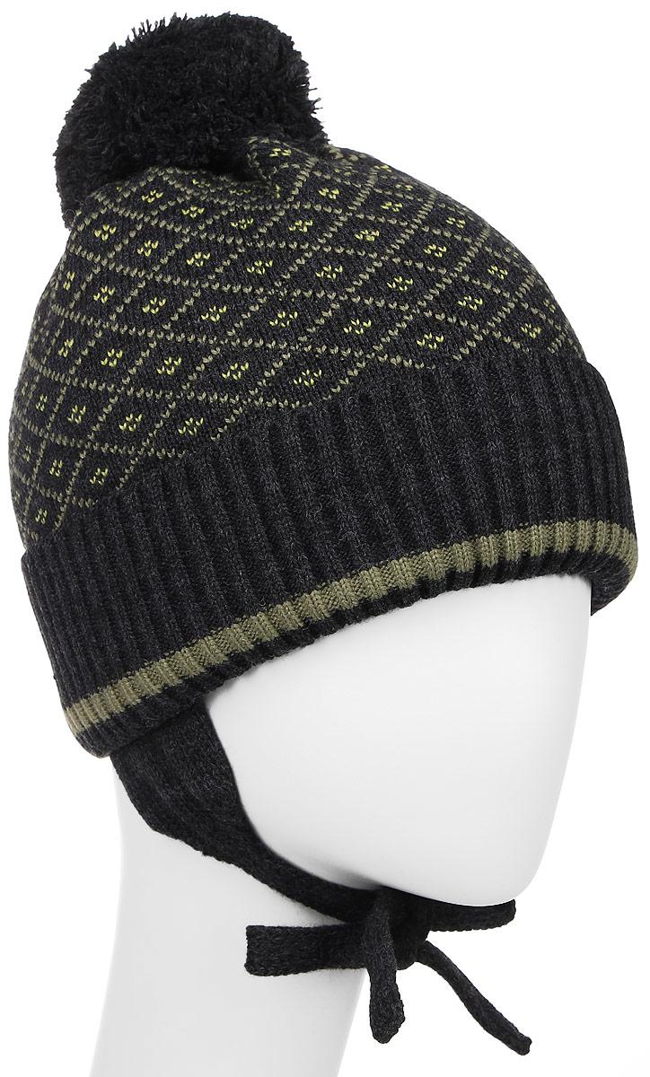 Шапка детскаяM3748-22Детская шапка ПриКиндер выполнена из шерсти и акрила, подкладка - из хлопка и лайкры. Уважаемые клиенты! Размер, доступный для заказа, является обхватом головы.