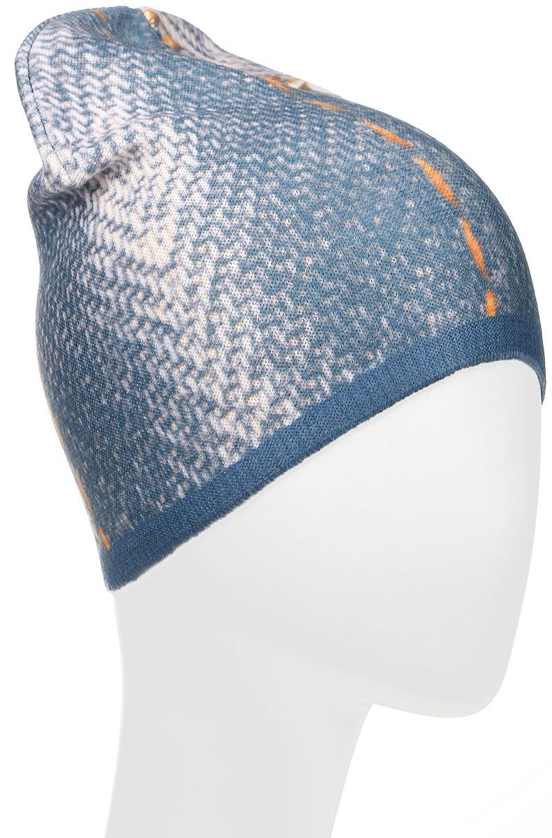 Шапка детскаяM4739-22Шапка для мальчика Fishka, выполненная из акрила с добавлением хлопка и лайкры, очень мягкая и приятная на ощупь. Изделие идеально прилегает к голове и максимально сохраняет тепло. Шапка оформлена оригинальным принтом. Уважаемые клиенты! Размер, доступный для заказа, является обхватом головы.