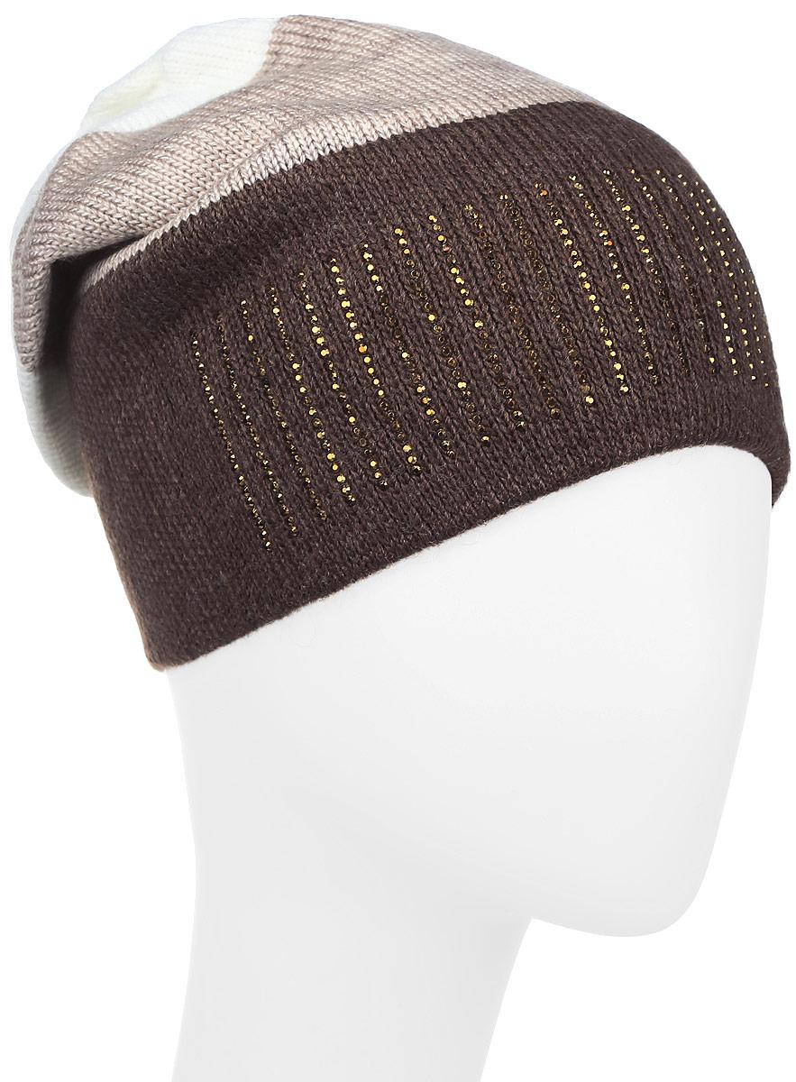 Шапка детскаяШтрих-22Теплая шапка для девочки Concept выполнена из сочетания высококачественного акрила и теплой шерсти. Удлиненная шапка оформлена принтом в полоску и дополнена выкладкой из блестящих страз. Уважаемые клиенты! Размер, доступный для заказа, является обхватом головы.