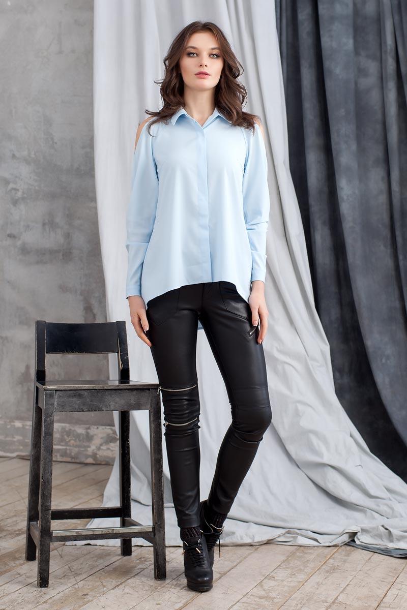Блузка1203641Элегантная и стильная блузка из приятной блузочной ткани. Модель силуэта клеш с удлинением по спинке. Длинный рукав реглан с открытыми плечами. Горловина оформлена отложным воротником. Впереди потайная застежка на пуговицы.
